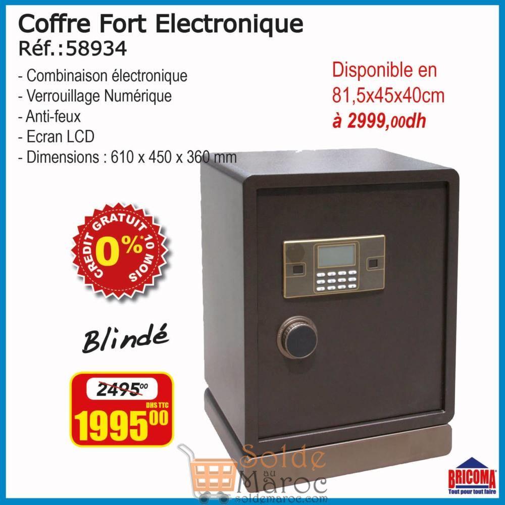 Soldes Bricoma Coffre fort électronique Blindé 1995Dhs au lieu de 2495Dhs