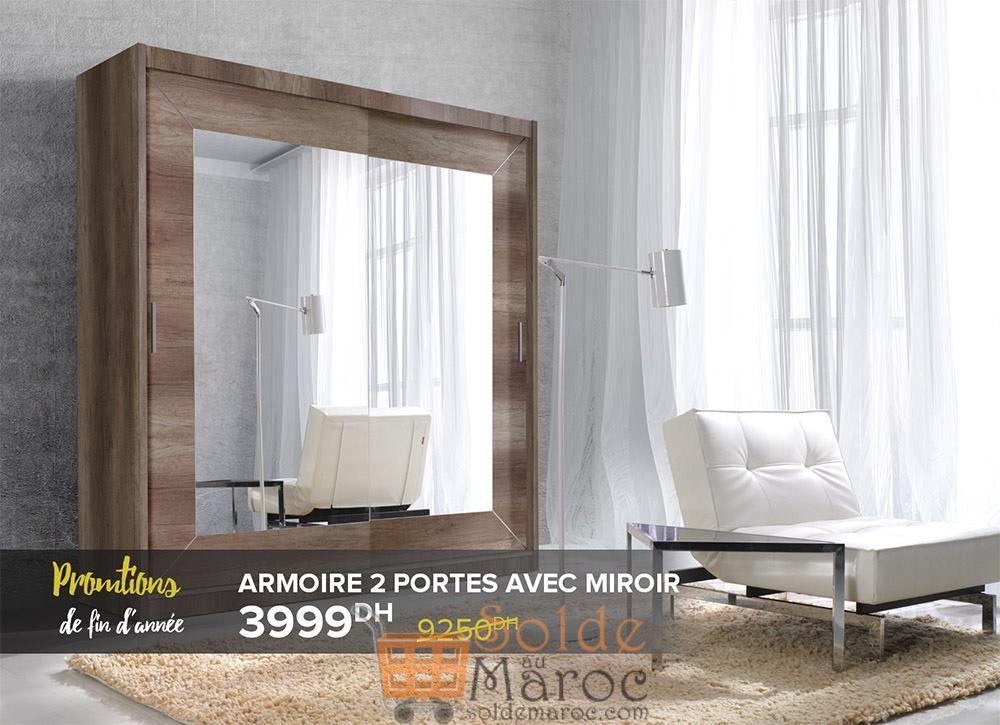 Promo fin d'année Cozy Home Armoire 2 Portes avec Miroir 3999Dhs au lieu de 9250Dhs