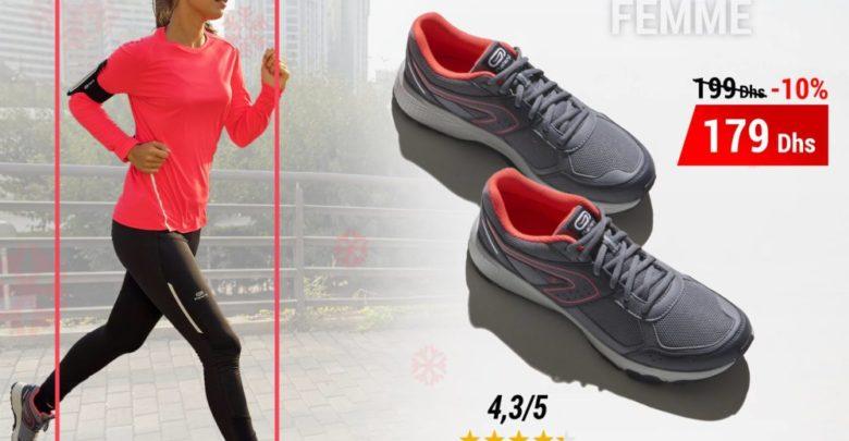 Photo of Soldes Decathlon Chaussures Jogging Femme Run Cushion Grip Gris Diva 179Dhs au lieu de 199Dhs