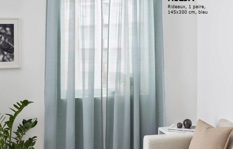 Soldes Ikea Family Maroc Rideaux bleu 1 paire HILJA 199Dhs au lieu de 249Dhs
