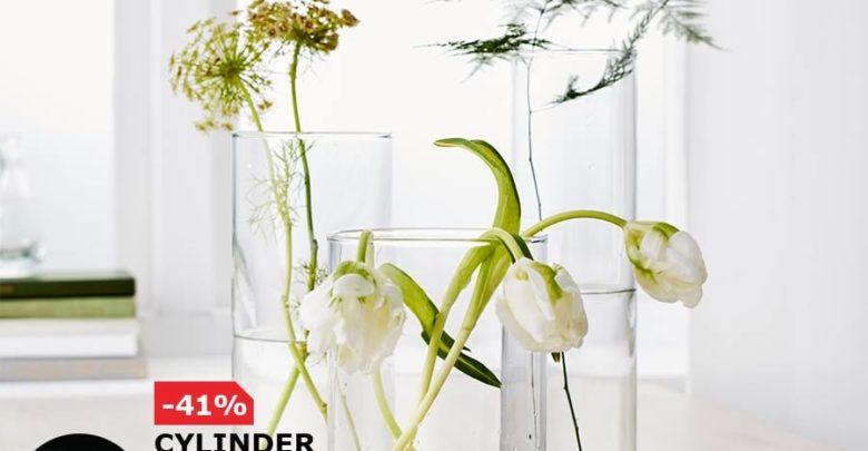 Soldes Ikea Maroc Lot de 3 Vases Transparent CYLINDER 99Dhs au lieu de 169Dhs