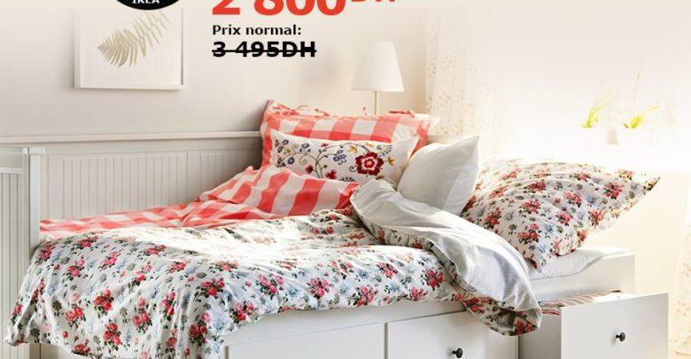 Photo of Soldes Ikea Maroc Cadre lit d'appoint avec 3 tiroirs 2800Dhs au lieu de 3495Dhs