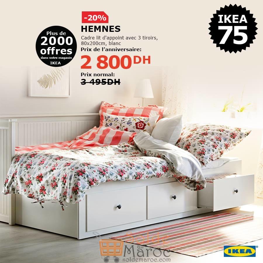 Soldes Ikea Maroc Cadre lit d'appoint avec 3 tiroirs 2800Dhs au lieu de 3495Dhs