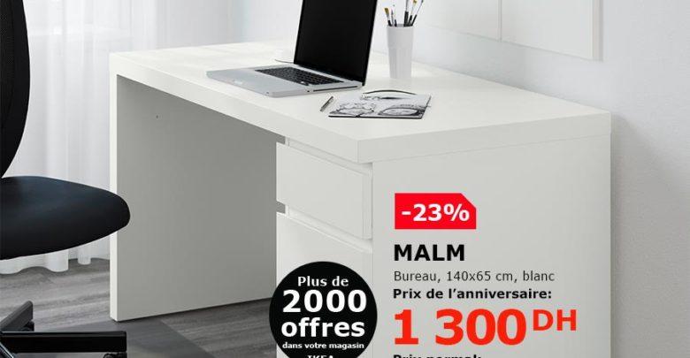 Soldes Ikea Maroc Bureau MALM 1300Dhs au lieu de 1695Dhs