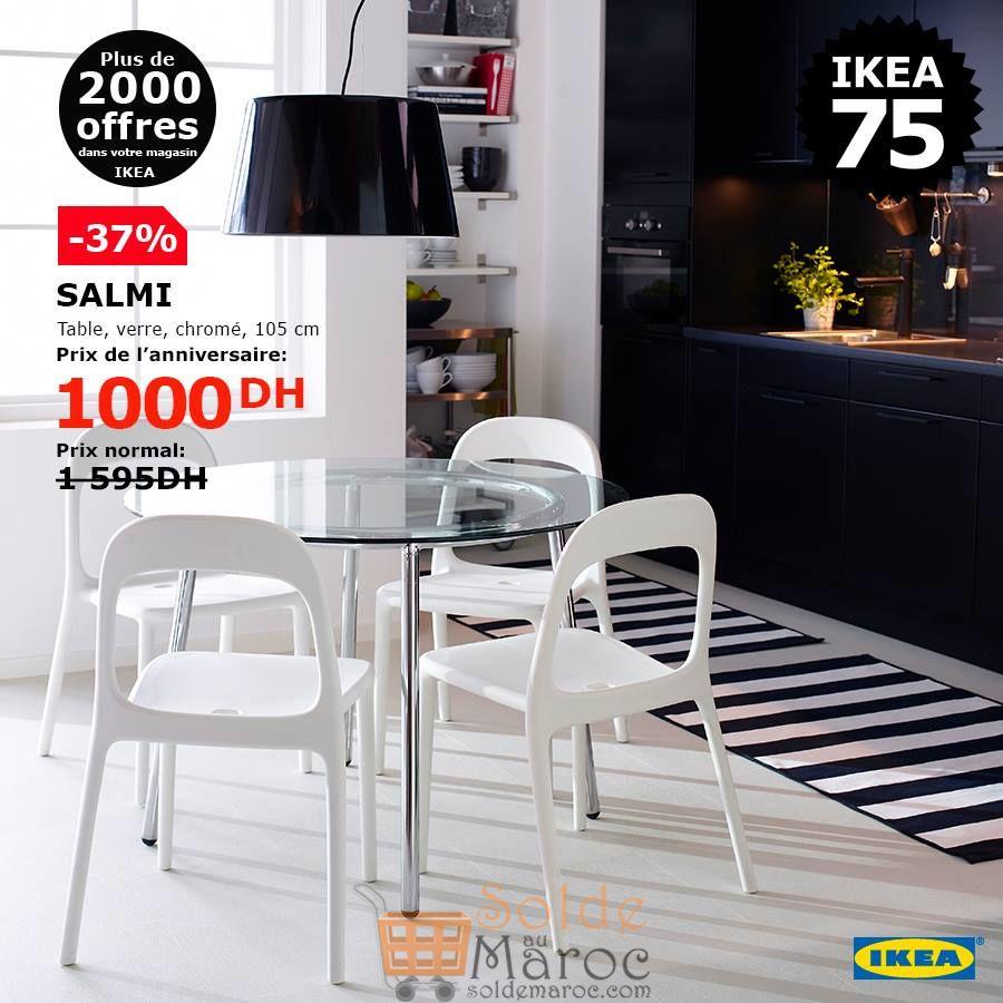Soldes Ikea Maroc Table en verre chromé SALMI 1000Dhs au lieu de 1595Dhs