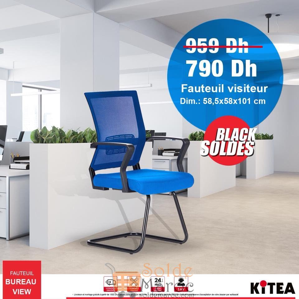Black Soldes Kitea Fauteuil visiteur 790Dhs au lieu de 959Dhs