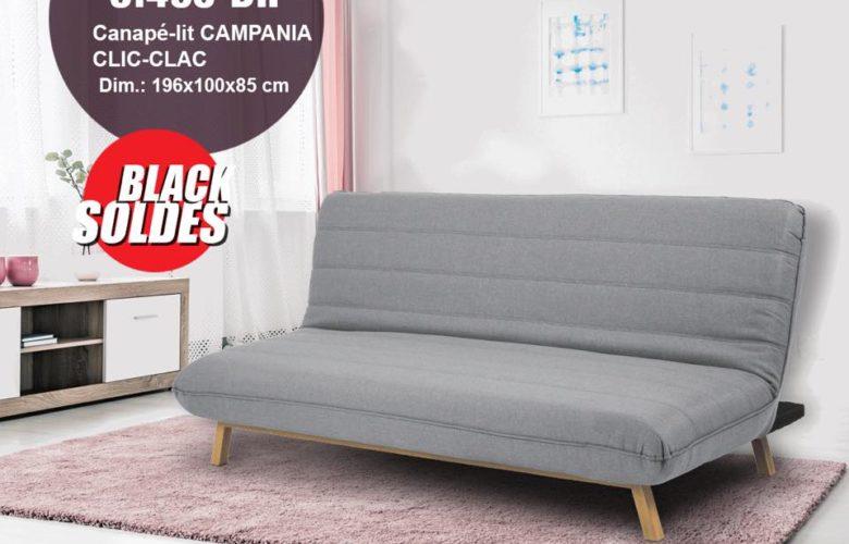 Black Soldes Kitea Canapé-lit CAMPANIA CLIC-CLIC 3495Dhs au lieu de 4895Dhs