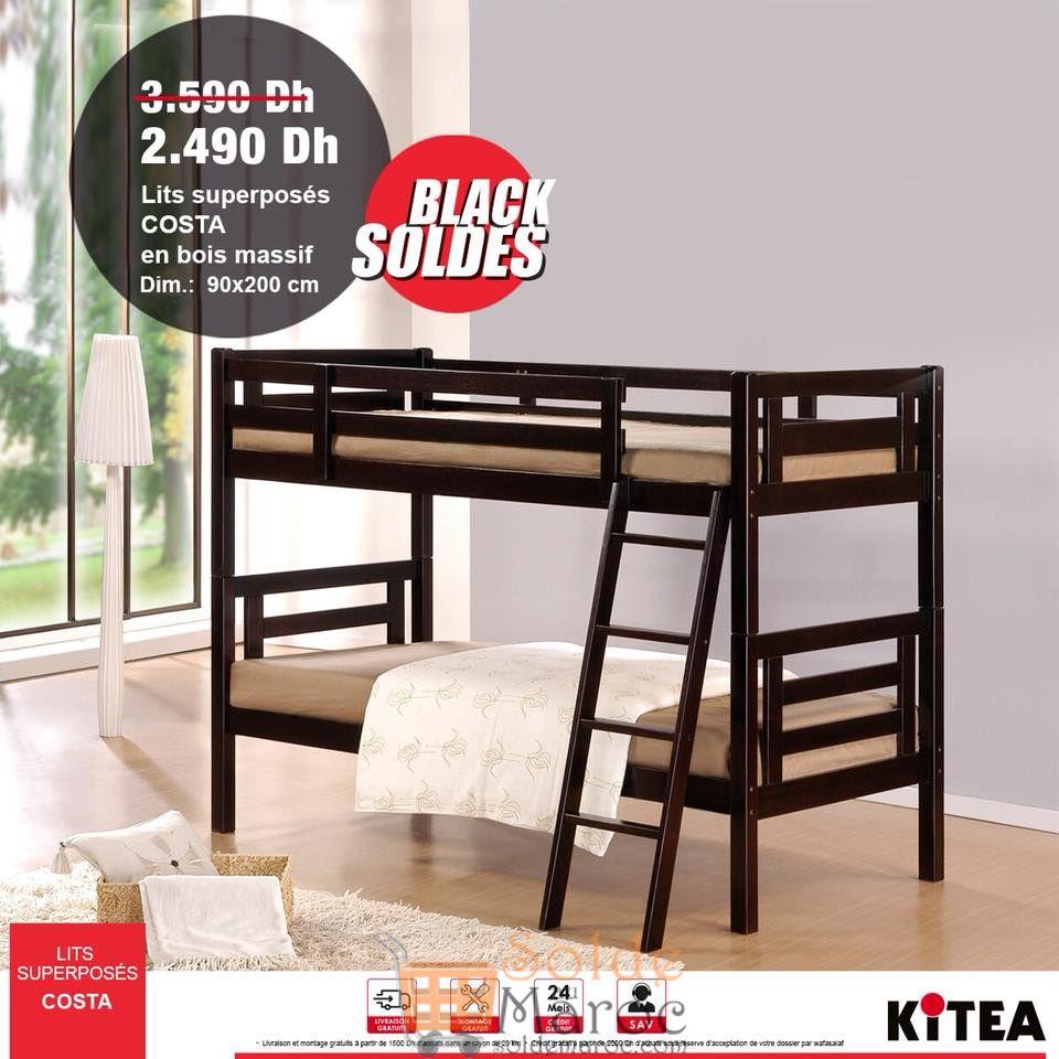 Black Soldes Kitea Lit superposés COSTA 2490Dhs au lieu de 3590Dhs