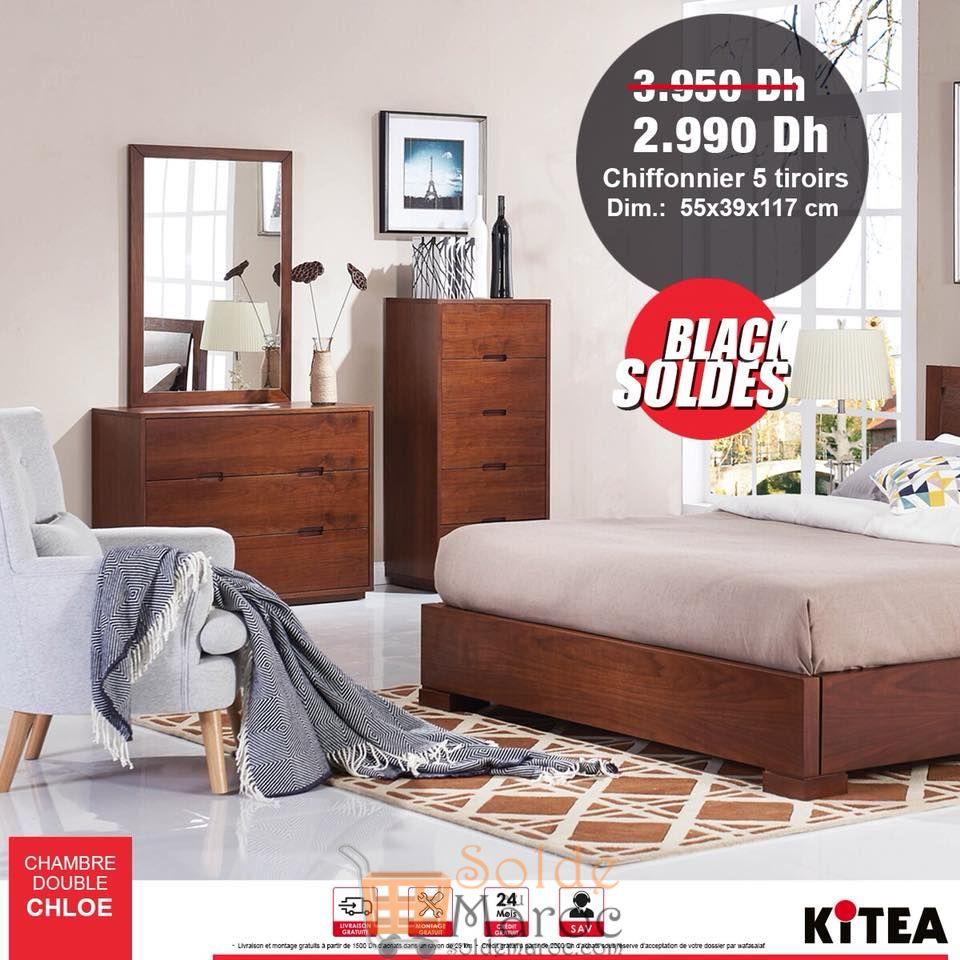 Promo Kitea Chiffonnier 5 tiroirs 2990Dhs au lieu de 3950Dhs