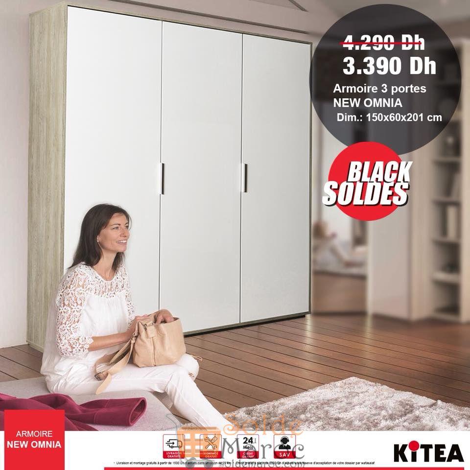 Black Soldes Kitea Armoire 3 portes NEW OMNIA 3390Dhs au lieu de 4290Dhs