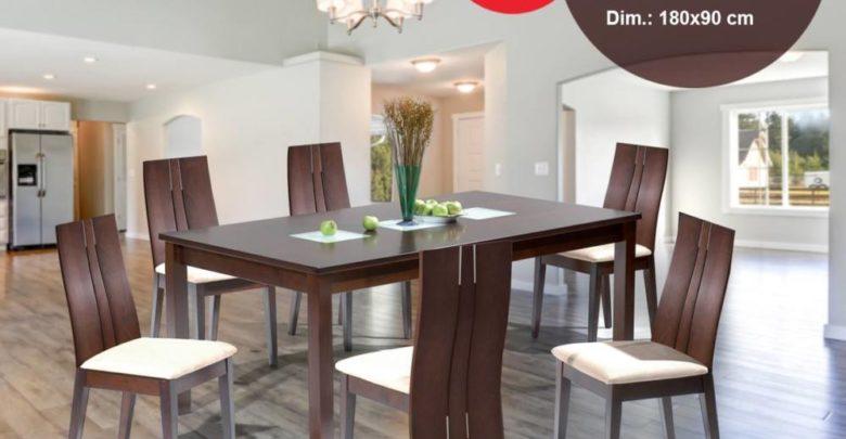 Black Soldes Kitea Set table + 8 chaises en bois massif 6495Dhs au lieu de 7395Dhs