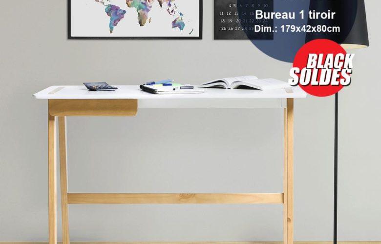 Black Soldes Kitea Bureau 1 tiroir DANA 1190Dhs au lieu de 1990Dhs