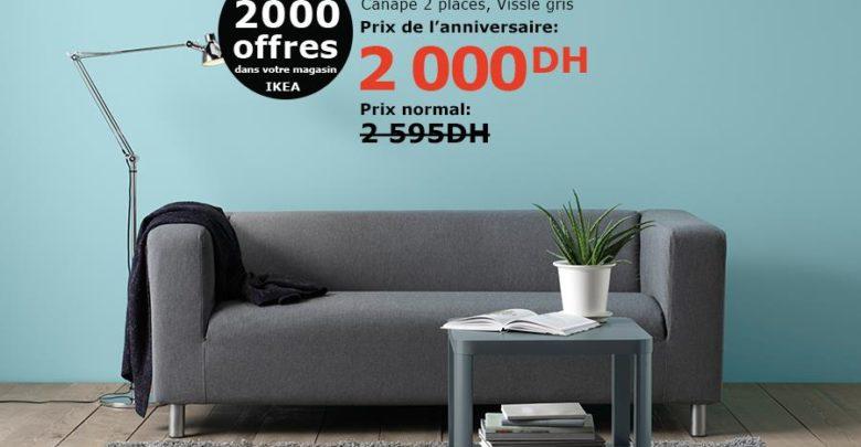 Soldes Ikea Maroc Canapé KLIPPAN 2 places Vissie gris 2000Dhs au lieu de 2595Dhs