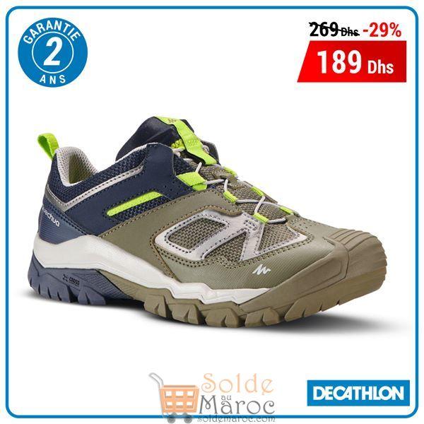Soldes Decathlon Maroc Chaussures de randonnée montagne garçon Crossrock JR Kaki 189Dhs au lieu de 269Dhs
