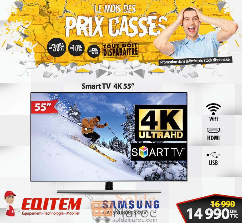 Déstockage Eqitem Electro Smart TV 55° UHD SAMSUNG 14990Dhs au lieu de 16990Dhs