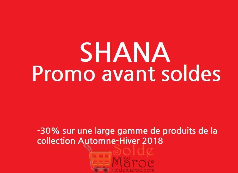 Promo avant Soldes Shana Maroc -30%* Collection Automne-Hiver 2018