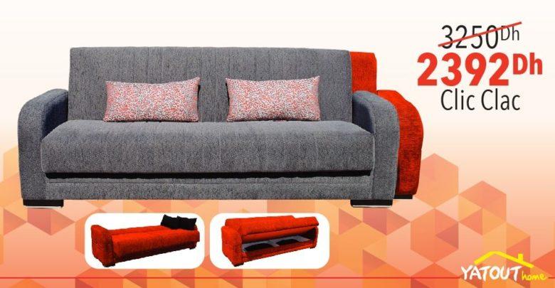 Promo Yatout Home Canapé Clic Clac DIEGO Avec Espace de rangement 2392Dhs au lieu de 3250Dhs