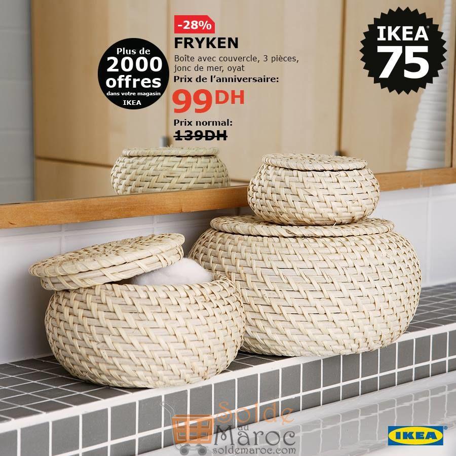 Soldes Ikea Maroc boite avec couvercle 3 pièce FRYKEN 99Dhs au lieu de 139Dhs