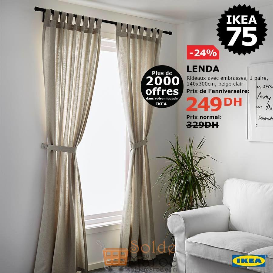 Soldes Ikea Maroc Rideaux avec embrasses 249Dhs au lieu de 329Dhs