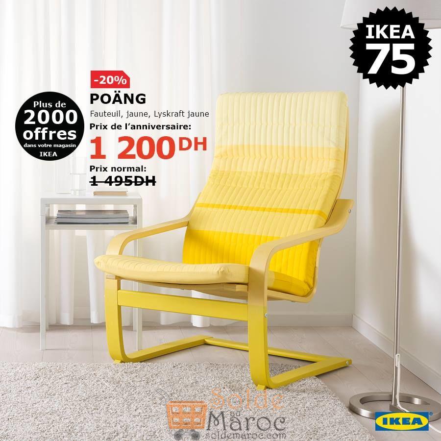 Soldes Ikea Maroc Fauteuil jaune POANG 1200Dhs au lieu de 1495Dhs