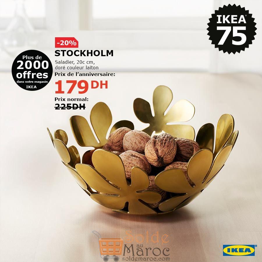 Soldes Ikea Maroc Saladier doré STOCKHOLM 179Dhs au lieu de 225Dhs