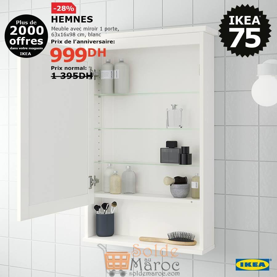 Soldes Ikea Maroc Meuble avec Miroir 1 porte HEMNES 999Dhs au lieu de 1395Dhs