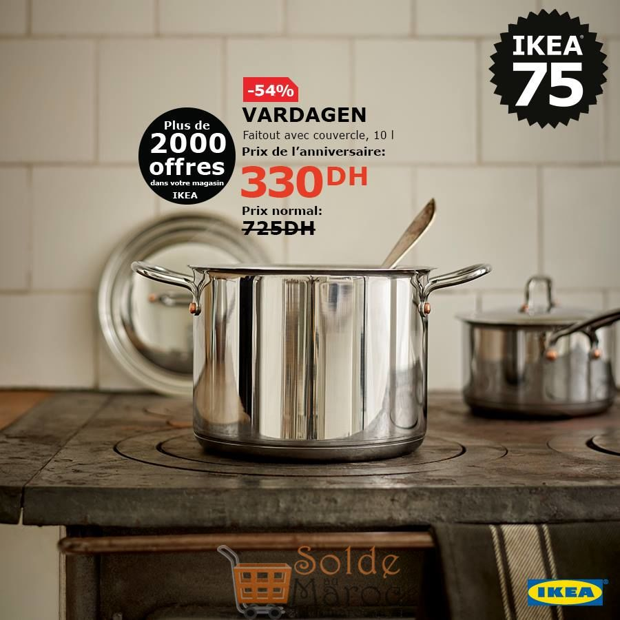 Soldes Ikea Maroc Faitout 10L avec couvercle VARDAGEN 330Dhs au lieu de 725Dhs