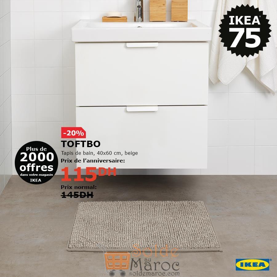 Soldes Ikea Maroc Tapis de bain TOFTBO 115Dhs au lieu de 145Dhs