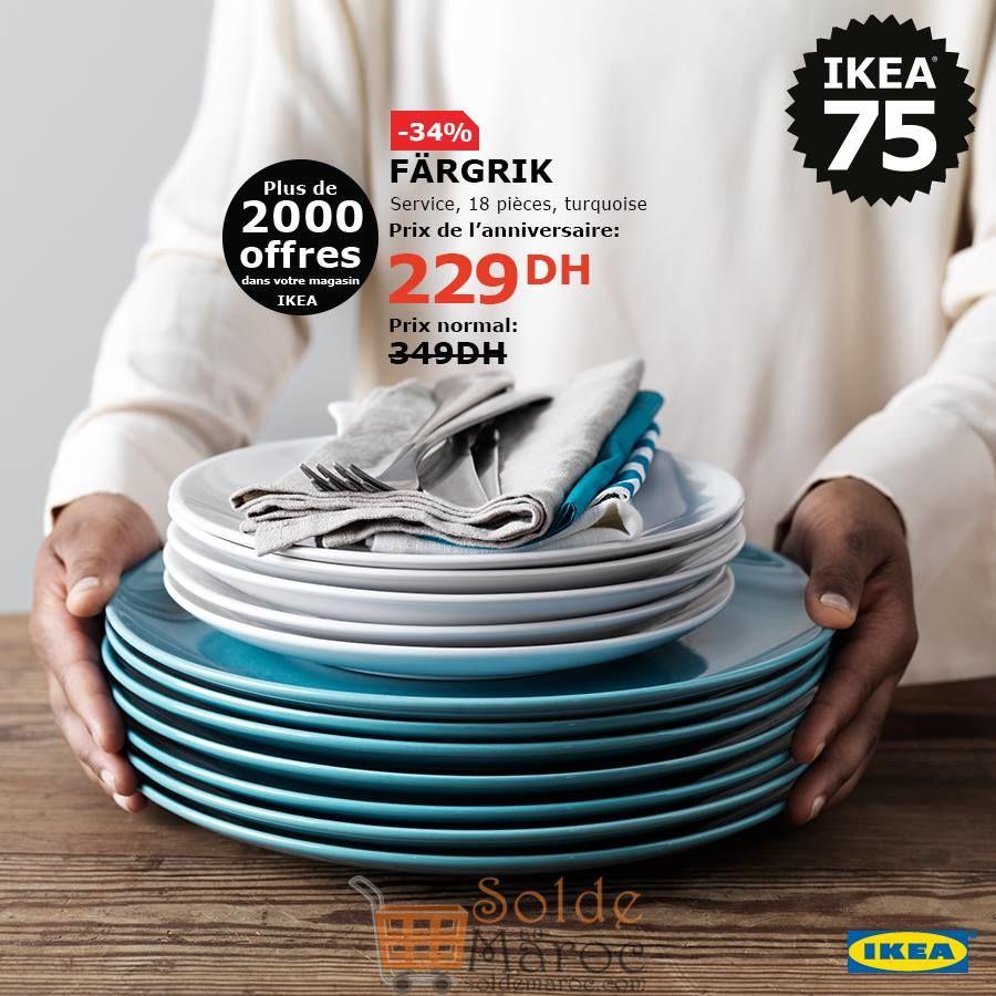 Soldes Ikea Maroc Service 18 pièces turquoise FARGRIK 229Dhs au lieu de 349Dhs