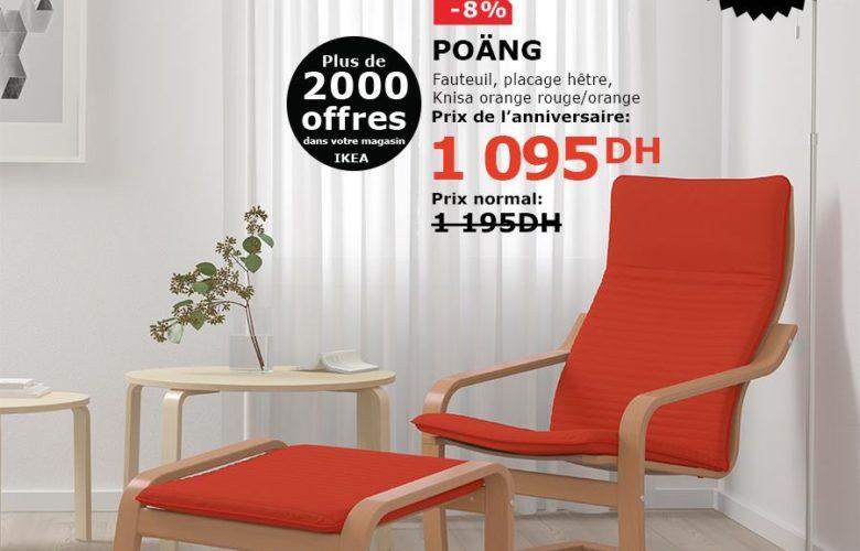 Soldes Ikea Maroc Fauteuil placage hêtre rouge/orange 1095Dhs au lieu de 1195Dhs