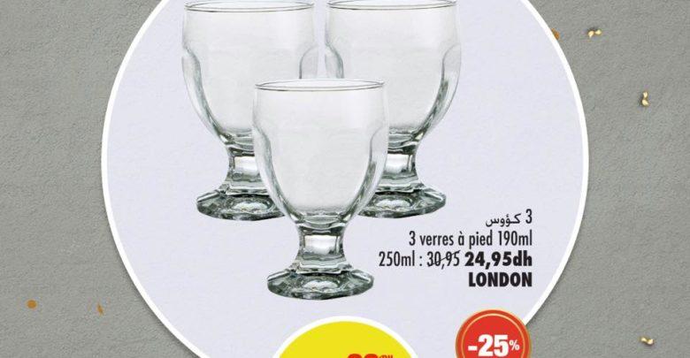 Photo of Soldes Aswak Assalam 3 verres à pied LONDON 19Dhs au lieu de 26Dhs