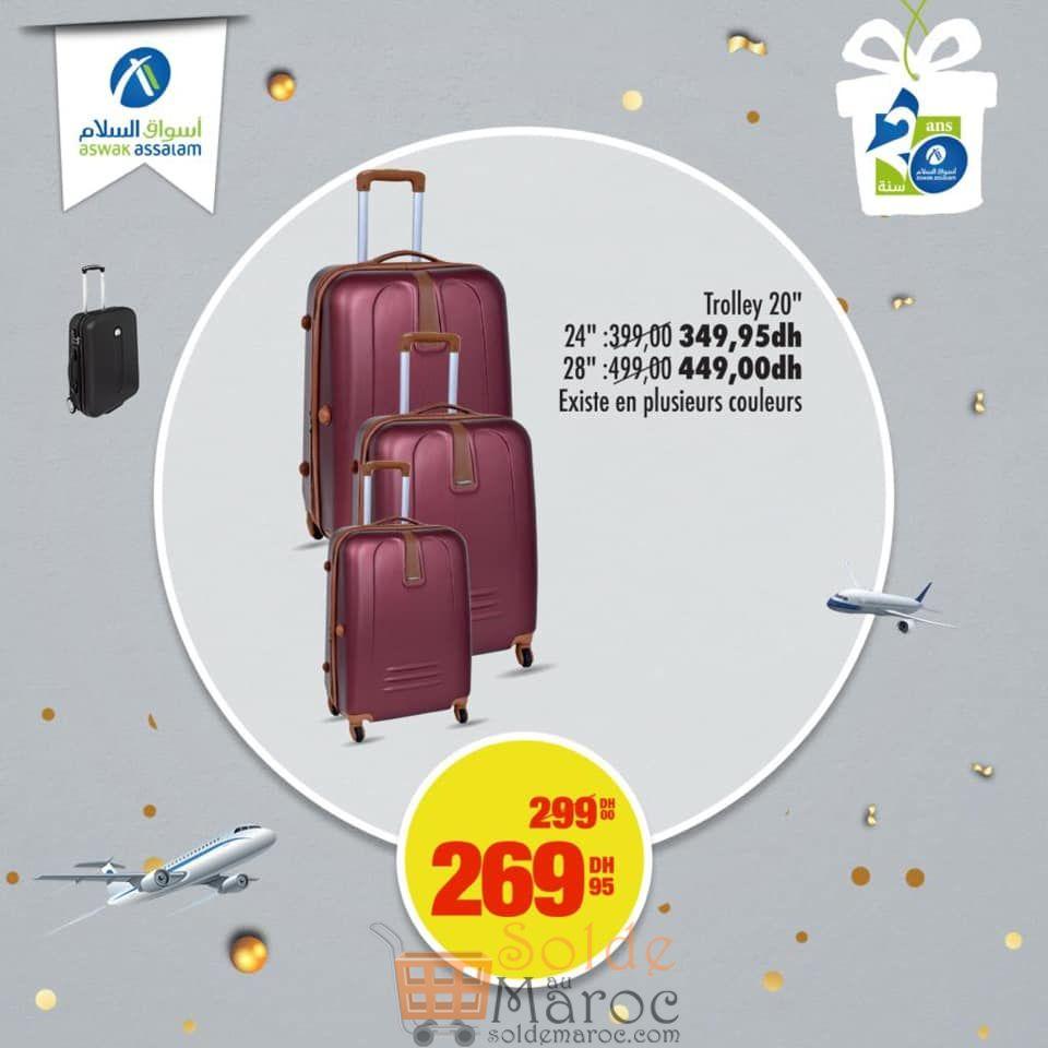 """Soldes Aswak Assalam Trolley 20"""" différents couleurs 269Dhs au lieu de 299Dhs"""