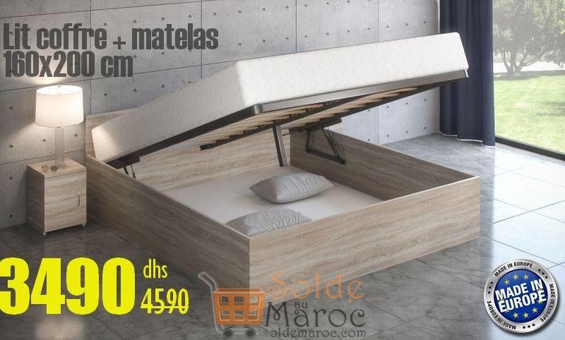Soldes Azura Home Lit Coffre Adulte Hora 160x200cm avec Matelas 3490Dhs au lieu de 4590Dhs