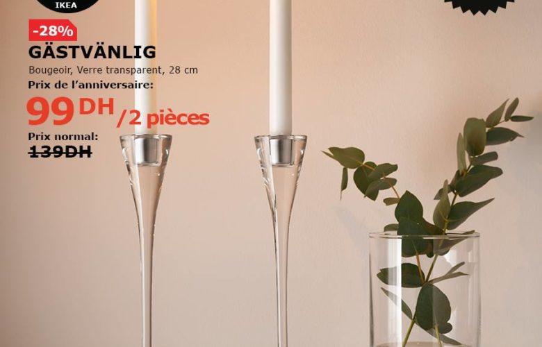 Soldes Ikea Maroc Bougeoir verre transparent GASTVANLIG 99Dhs au lieu de 139Dhs