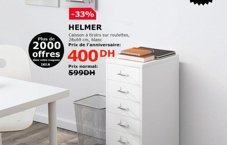 Soldes Ikea Maroc Caisson à tiroirs blanc HELMER 400Dhs au lieu de 599Dhs