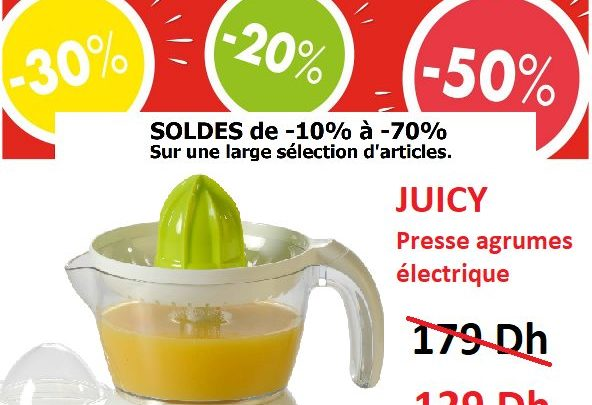 Photo of Solde CASA Maroc Presse agrumes JUICY 129Dhs au lieu de 179Dhs