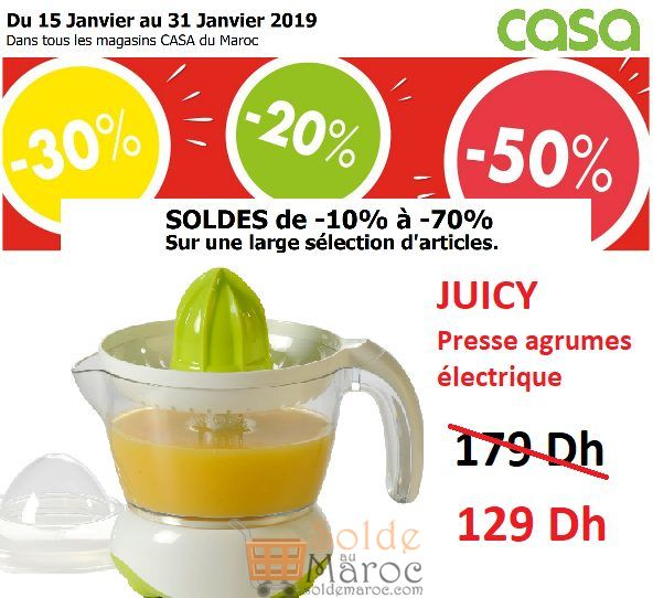 Solde CASA Maroc Presse agrumes JUICY 129Dhs au lieu de 179Dhs