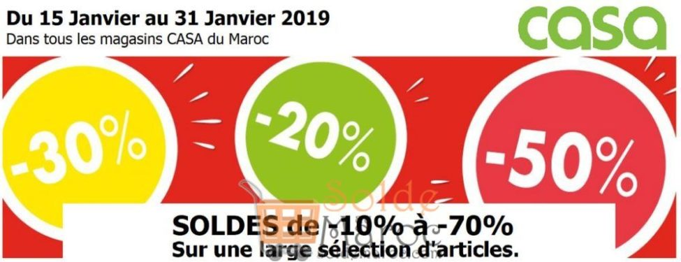 Soldes CASA Maroc jusqu'à -70% du 15 au 31 Janvier 2019