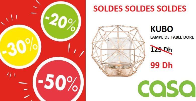 Photo of Soldes CASA Maroc Lampe de table doré KUBO 99Dhs au lieu de 129Dhs