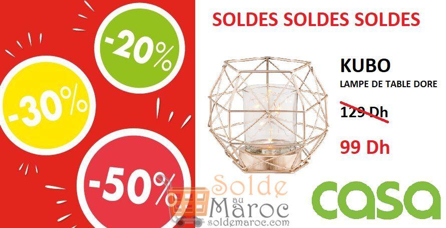 Soldes CASA Maroc Lampe de table doré KUBO 99Dhs au lieu de 129Dhs
