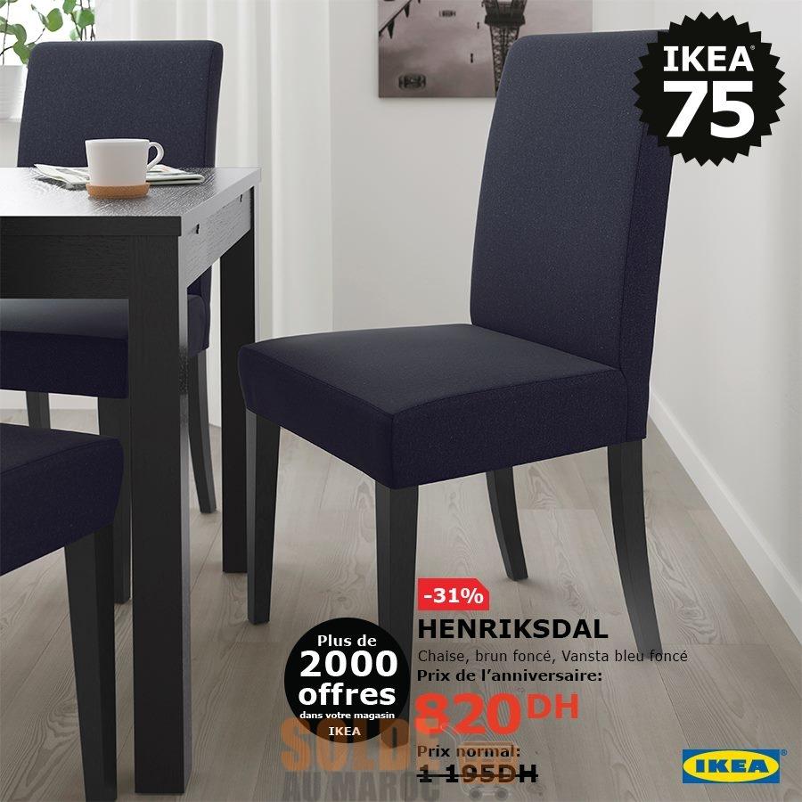 Soldes Ikea Maroc Chaise brun foncé HENRIKSDAL 820Dhs au leiu de 1195Dhs