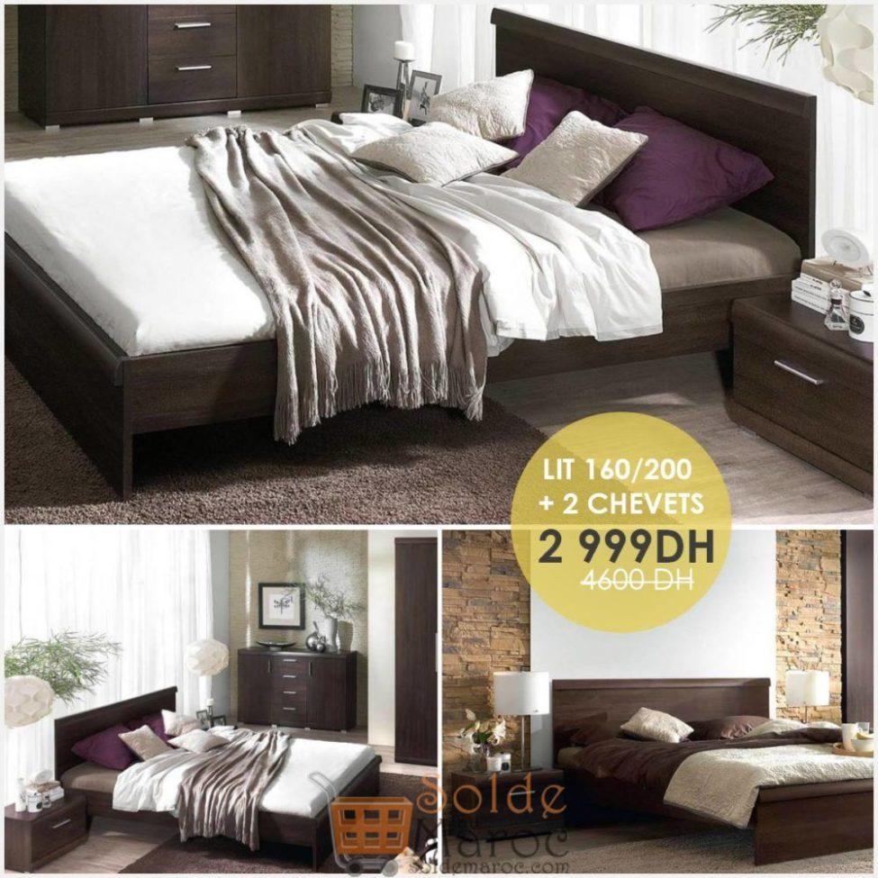 Soldes Cozy Home Lit MESTRE + 2 chevets 2999Dhs au lieu de 4600Dhs