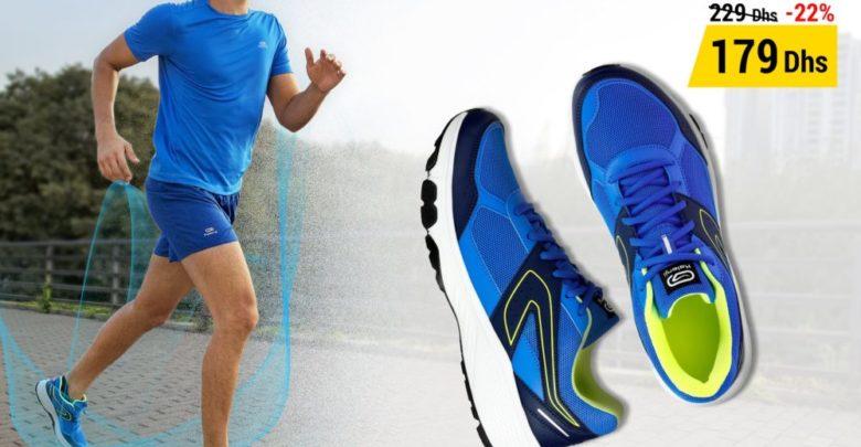 Photo of Soldes Decathlon Chaussure Jogging Homme Run Cushion Grip Bleu 179Dhs au lieu de 229Dhs