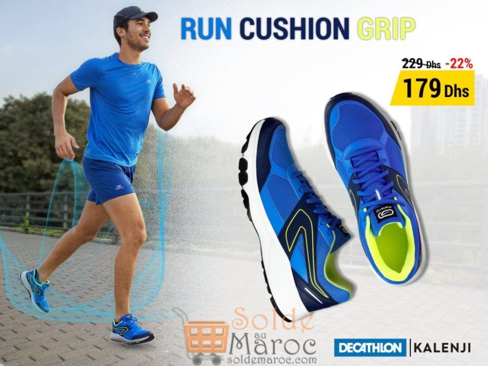 Soldes Decathlon Chaussure Jogging Homme Run Cushion Grip Bleu 179Dhs au lieu de 229Dhs