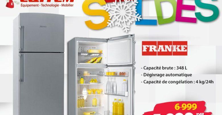 Photo of Soldes d'hiver Eqitem Réfrigérateur FRANKE 348L 5399Dhs au lieu de 6999Dhs