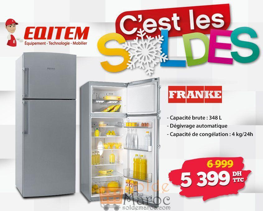 Soldes d'hiver Eqitem Réfrigérateur FRANKE 348L 5399Dhs au lieu de 6999Dhs