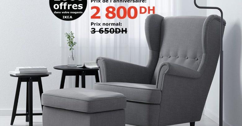Soldes Ikea Maroc Fauteuil à oreilles STRANDMON 2800Dhs au lieu de 3650Dhs