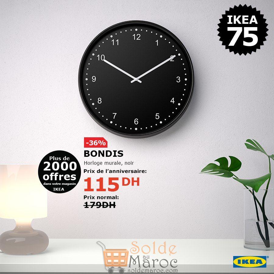 Soldes Ikea Maroc Horloge mural BONDIS 115Dhs au lieu de 179Dhs