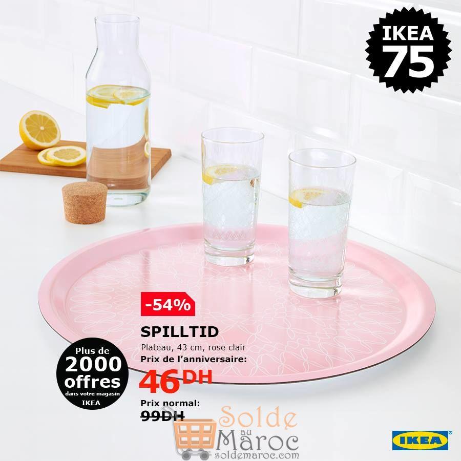 Soldes Ikea Maroc Plateau SPILLTID 46Dhs au lieu de 99Dhs