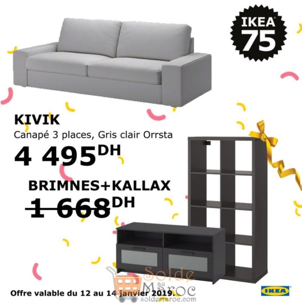 Soldes Ikea Maroc Canapé 3 places KIVIK avec 2 cadeaux 4495Dhs